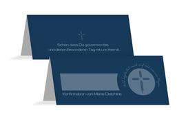 Tischkarte Konfirmation Gottes Wege - Dunkelblau (K32)