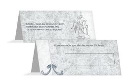 Tischkarte Konfirmation Relief-Engelchen - Blau (K32)