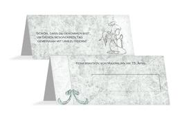 Tischkarte Konfirmation Relief-Engelchen - Türkis (K32)