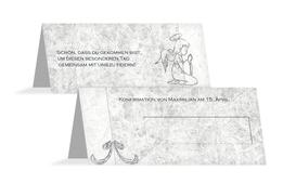Tischkarte Konfirmation Relief-Engelchen - Grau (K32)