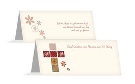 Tischkarte Konfirmation Florales Kreuz - Rot (K32)