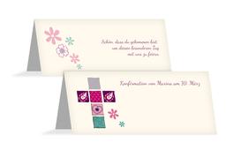 Tischkarte Konfirmation Florales Kreuz - Pink (K32)