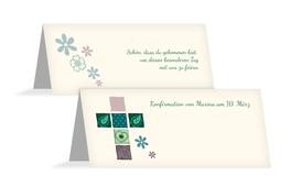 Tischkarte Konfirmation Florales Kreuz - Grün (K32)