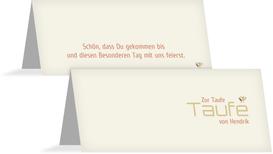 Tischkarte Taufe Vogel - Orange (K32)