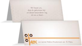 Tischkarte zur Taufe Taufkreuz - Orange (K32)