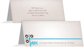 Tischkarte zur Taufe Taufkreuz - Blau (K32)