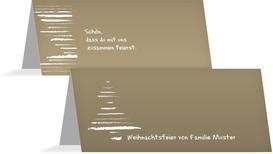 Weihnachts Tischkarte Kreidentanne - Braun (K32)