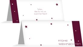 Tischkarte zur Weihnachtsfeier Classic Stars - Rot (K32)