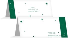 Tischkarte zur Weihnachtsfeier Classic Stars - Grün (K32)