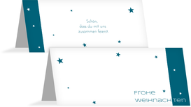 Tischkarte zur Weihnachtsfeier Classic Stars - Türkis (K32)