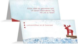 Weihnachten Tischkarte Sternenhimmel - Rot (K32)