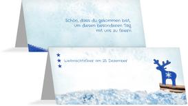 Weihnachten Tischkarte Sternenhimmel - Blau (K32)