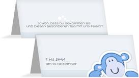 Tischkarte Taufe Aeffchen - Hellblau (K32)