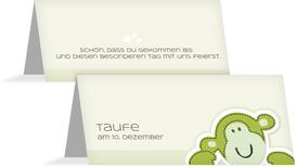 Tischkarte Taufe Aeffchen - Grün (K32)