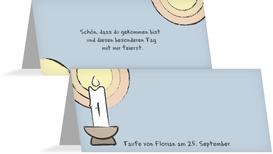 Tischkarte Taufe Kerzenschein - Hellblau (K32)