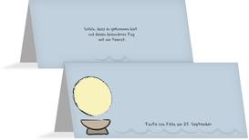 Tischkarte Taufe Taufbecken - Hellblau (K32)