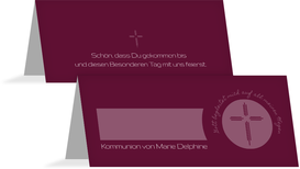 Tischkarte Kommunion Gottes Wege - Rot (K32)