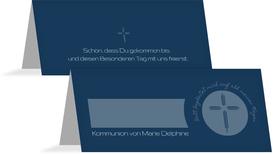 Tischkarte Kommunion Gottes Wege - Dunkelblau (K32)