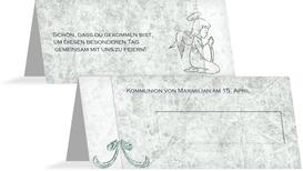 Tischkarte Kommunion Relief-Engelchen - Türkis (K32)