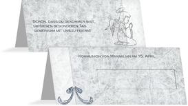 Tischkarte Kommunion Relief-Engelchen - Blau (K32)