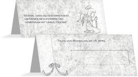 Tischkarte Taufe Relief-Engelchen - Grau (K32)