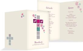 Menükarte Kommunion Florales Kreuz - Pink (K38)