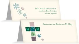 Tischkarte Kommunion Florales Kreuz - Grün (K32)