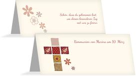 Tischkarte Kommunion Florales Kreuz - Rot (K32)