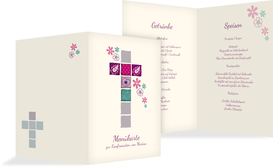 Menükarte Konfirmation Florales Kreuz - Pink (K38)