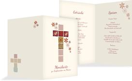 Menükarte Konfirmation Florales Kreuz - Rot (K38)