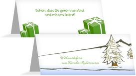Tischkarte Weihnachten Scribble - Grün (K32)