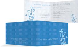 Hochzeitseinladung Liebestraum 2 - Blau (K19)