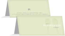 Tischkarte Kommunion Schutzengel - Grün (K32)