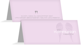 Tischkarte Kommunion Schutzengel - Lila (K32)