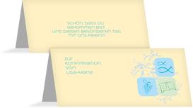 Tischkarte Konfirmation Fisch - Hellblau (K32)