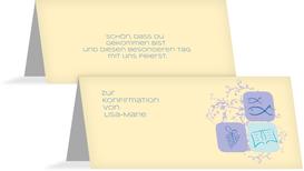 Tischkarte Konfirmation Fisch - Lila (K32)