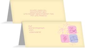 Tischkarte Konfirmation Fisch - Rosa (K32)
