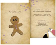 Weihnachtsgrußkarte Lebkuchenmännchen - Lila (K31)