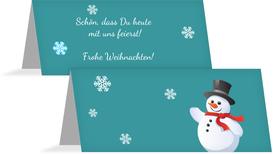 Weihnachtstischkarte Schneemann - Gelb (K32)