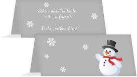 Weihnachtstischkarte Schneemann - Lila (K32)