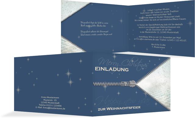 einladung zur weihnachtsfeier geschäftlich reißverschluss, Einladung