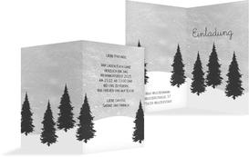 Weihnachtseinladung Winterwald - Grau (K20)