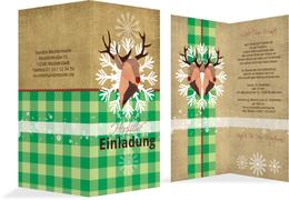 Weihnachtseinladung Hirschkopf - Grün (K35)