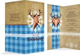 Weihnachtseinladung Hirschkopf - Blau (K35)