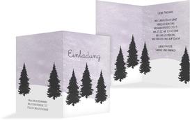 Weihnachtseinladung Winterwald - Lila (K20)