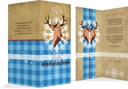 Weihnachtsgrußkarte Hirschkopf  - Blau (K35)