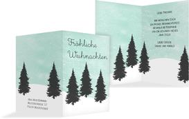 Weihnachtsgrußkarte Winterwald - Türkis (K20)