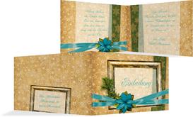 Weihnachtseinladung Goldenes Geschenk - Türkis (K19)