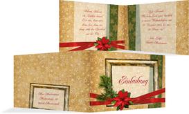 Weihnachtseinladung Goldenes Geschenk - Rot (K19)