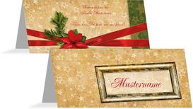 Tischkarte Goldenes Geschenk - Rot (K32)